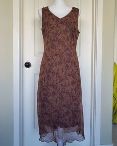 Vintage Brown Floral Chiffon Dress